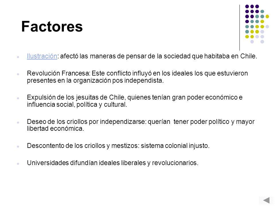 Factores Ilustración: afectó las maneras de pensar de la sociedad que habitaba en Chile.