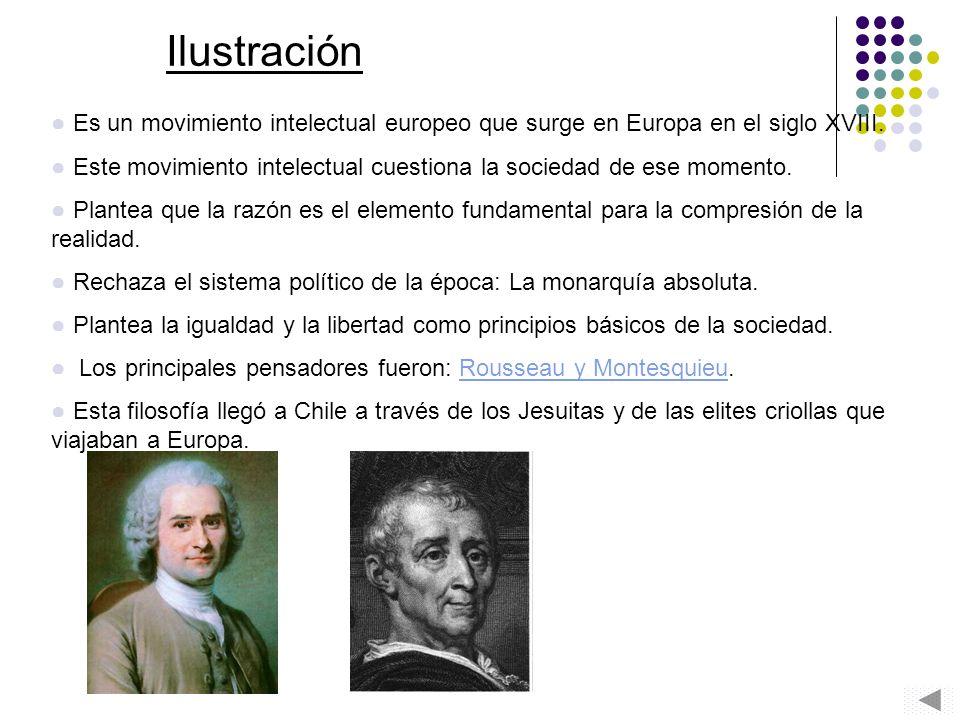 Ilustración Es un movimiento intelectual europeo que surge en Europa en el siglo XVIII.