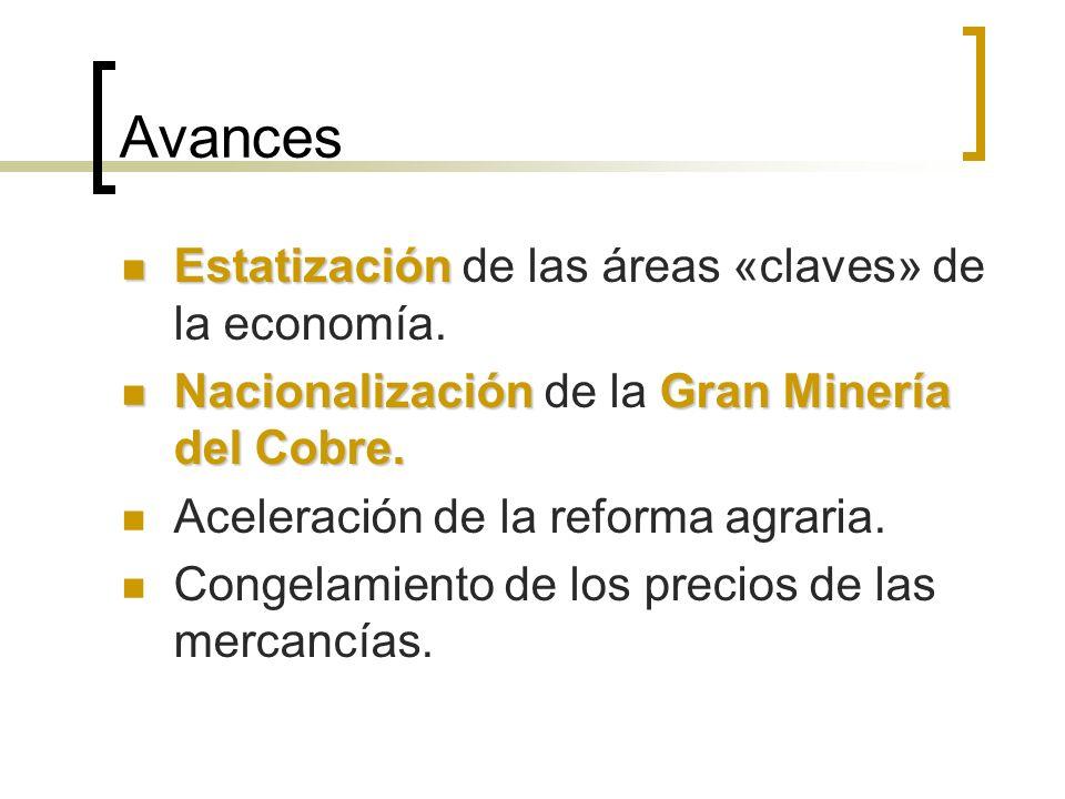 Avances Estatización de las áreas «claves» de la economía.