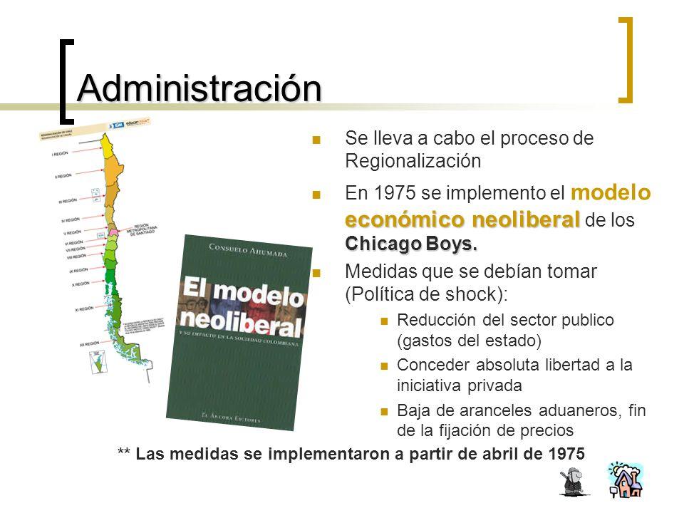 Administración Se lleva a cabo el proceso de Regionalización