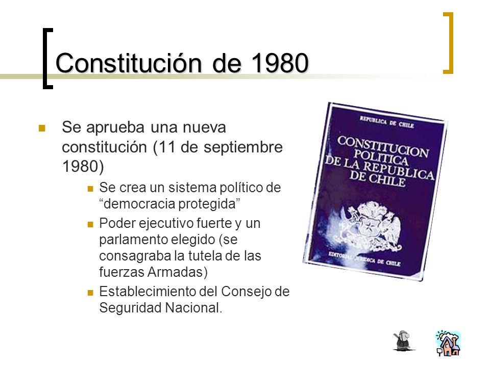 Constitución de 1980 Se aprueba una nueva constitución (11 de septiembre 1980)