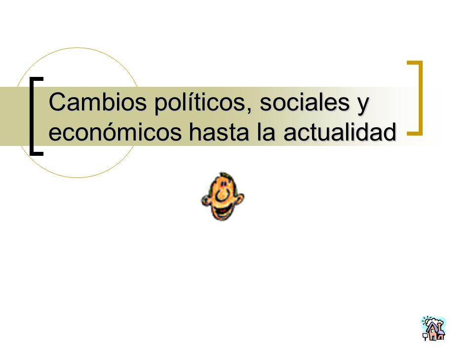 Cambios políticos, sociales y económicos hasta la actualidad