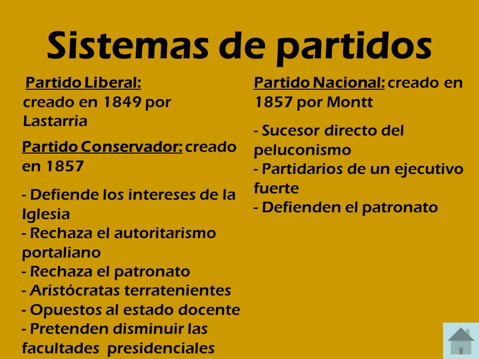 Sistemas de partidos Partido Liberal: creado en 1849 por Lastarria