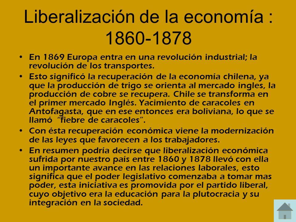 Liberalización de la economía : 1860-1878