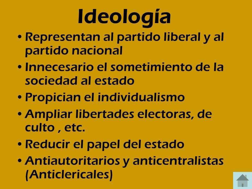 Ideología Representan al partido liberal y al partido nacional