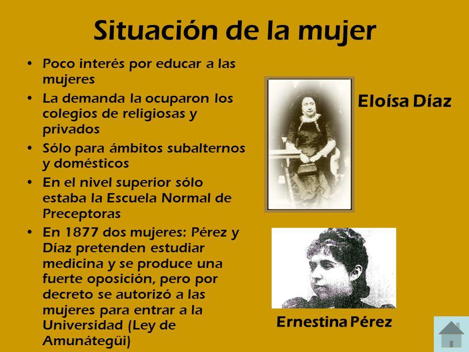 Situación de la mujer Eloísa Díaz Ernestina Pérez