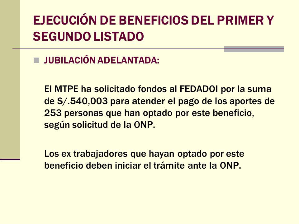 EJECUCIÓN DE BENEFICIOS DEL PRIMER Y SEGUNDO LISTADO