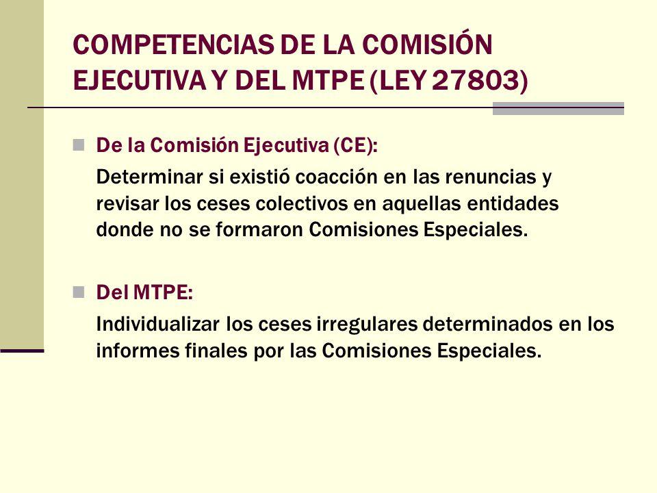 COMPETENCIAS DE LA COMISIÓN EJECUTIVA Y DEL MTPE (LEY 27803)