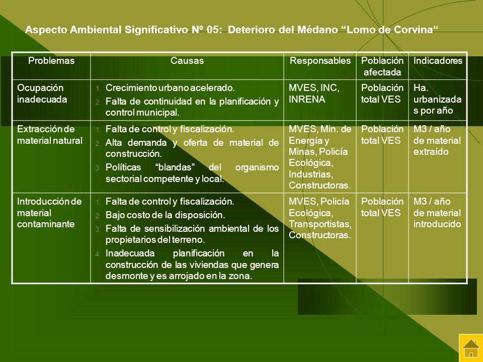 Aspecto Ambiental Significativo Nº 05: Deterioro del Médano Lomo de Corvina