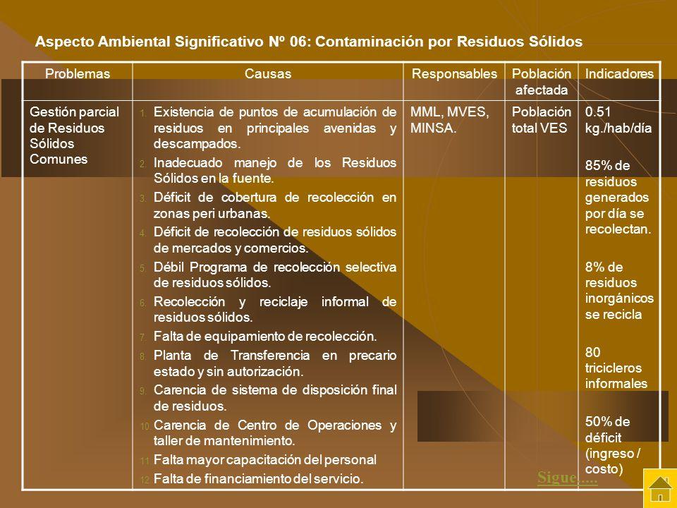 Aspecto Ambiental Significativo Nº 06: Contaminación por Residuos Sólidos