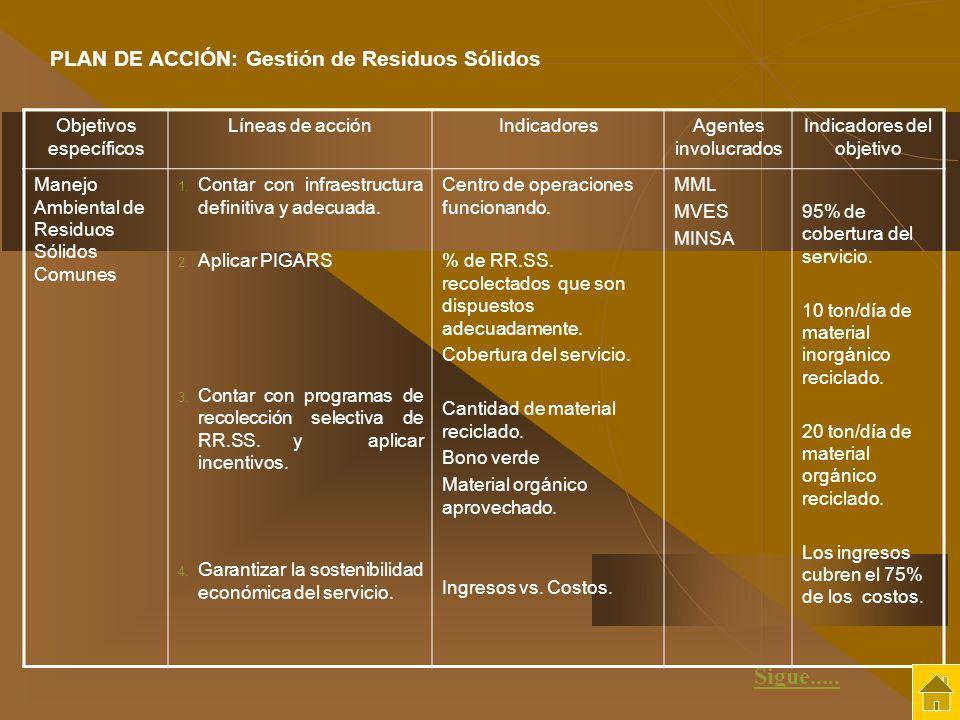 Sigue..... PLAN DE ACCIÓN: Gestión de Residuos Sólidos