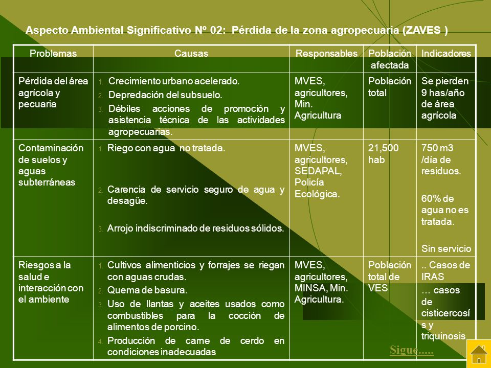 Aspecto Ambiental Significativo Nº 02: Pérdida de la zona agropecuaria (ZAVES )