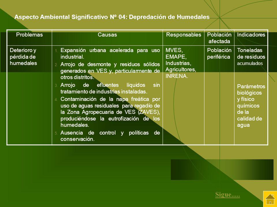 Aspecto Ambiental Significativo Nº 04: Depredación de Humedales