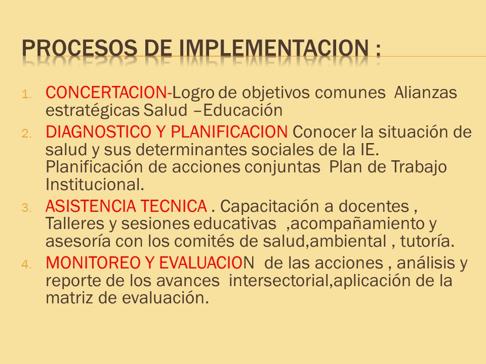 PROCESOS DE IMPLEMENTACION :
