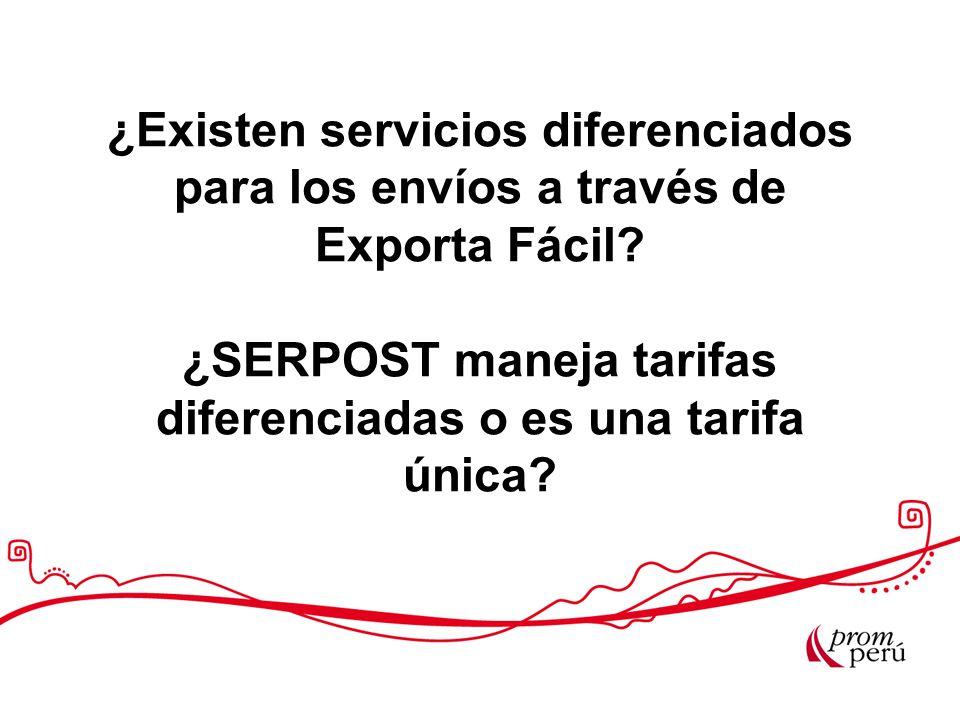 ¿Existen servicios diferenciados para los envíos a través de Exporta Fácil.