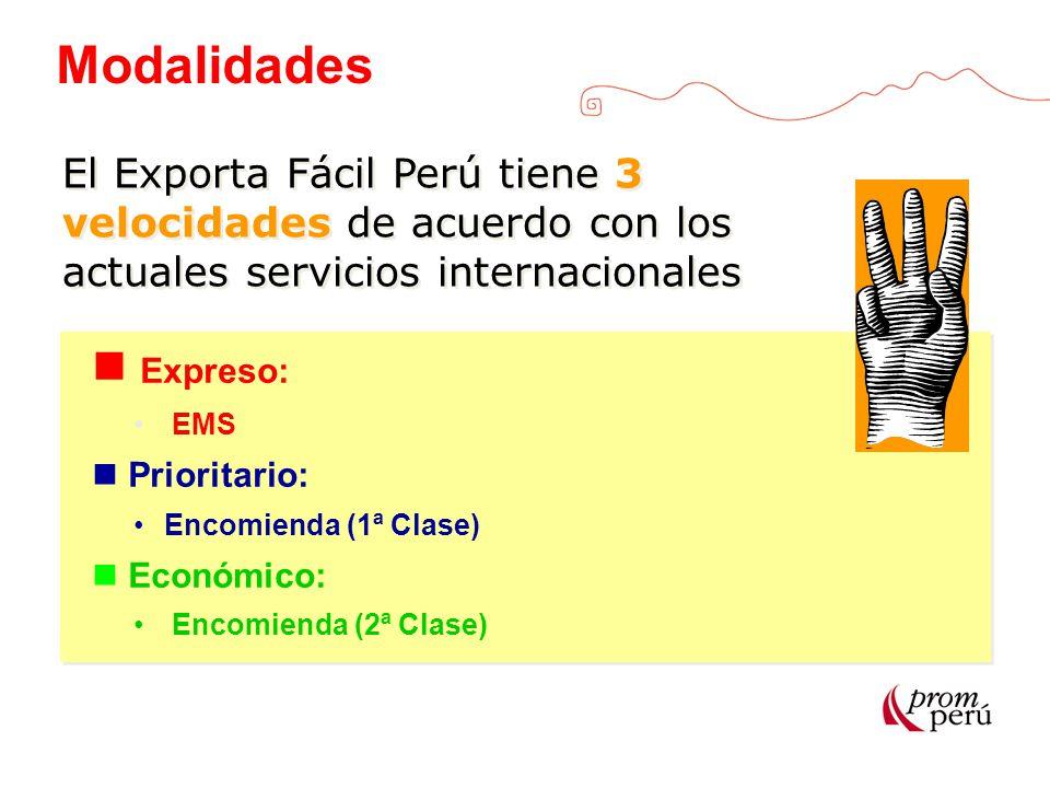 Modalidades El Exporta Fácil Perú tiene 3 velocidades de acuerdo con los actuales servicios internacionales.