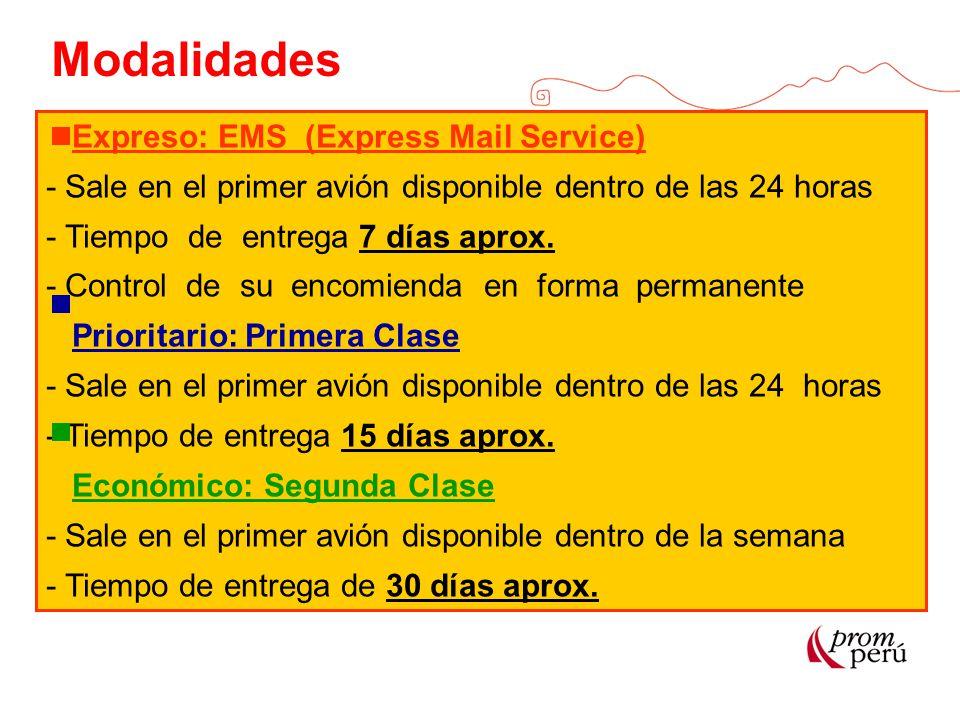 Modalidades Expreso: EMS (Express Mail Service)