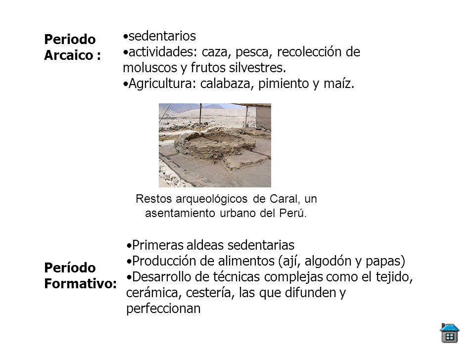 Restos arqueológicos de Caral, un asentamiento urbano del Perú.