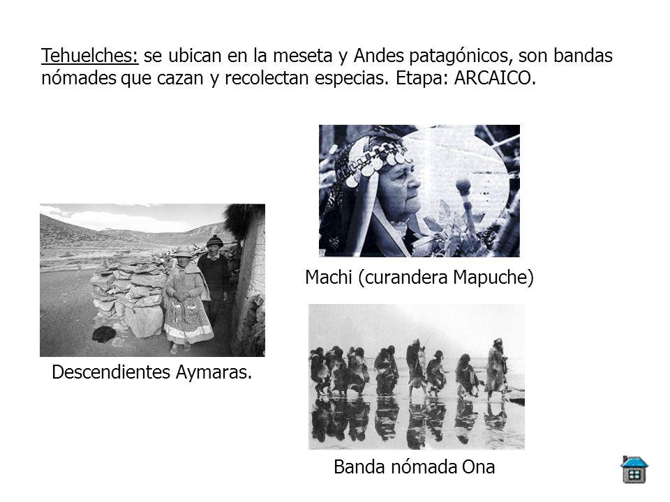 Tehuelches: se ubican en la meseta y Andes patagónicos, son bandas nómades que cazan y recolectan especias. Etapa: ARCAICO.