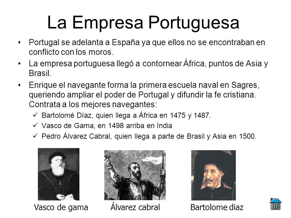 La Empresa PortuguesaPortugal se adelanta a España ya que ellos no se encontraban en conflicto con los moros.