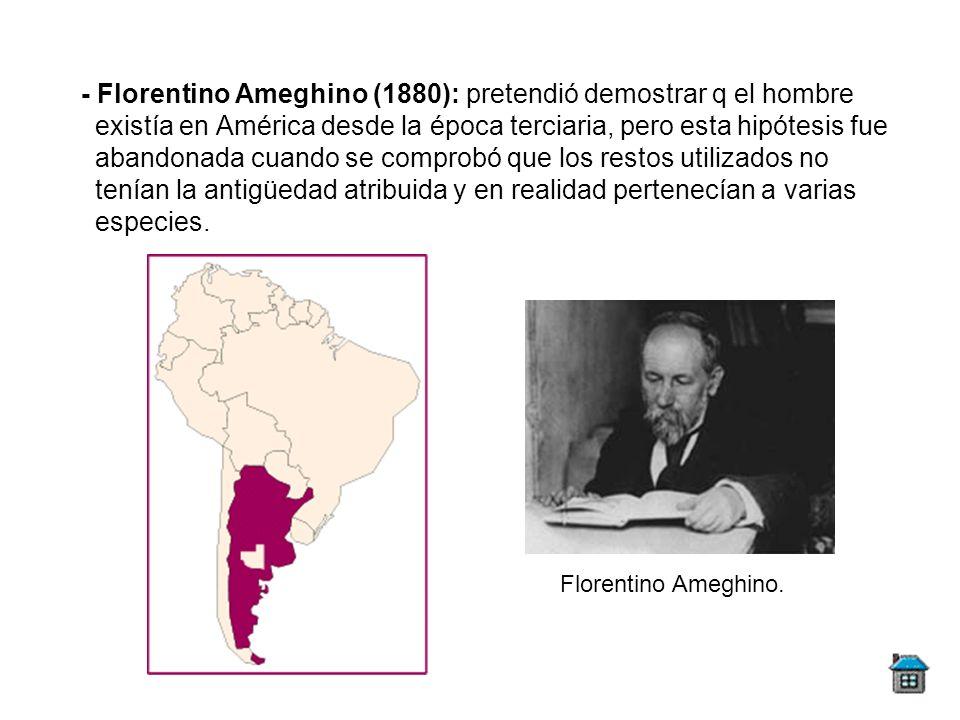- Florentino Ameghino (1880): pretendió demostrar q el hombre existía en América desde la época terciaria, pero esta hipótesis fue abandonada cuando se comprobó que los restos utilizados no tenían la antigüedad atribuida y en realidad pertenecían a varias especies.