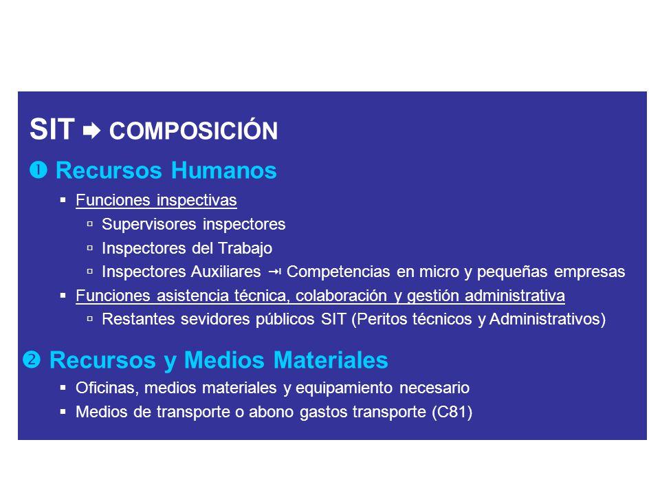 SIT  COMPOSICIÓN  Recursos Humanos  Recursos y Medios Materiales