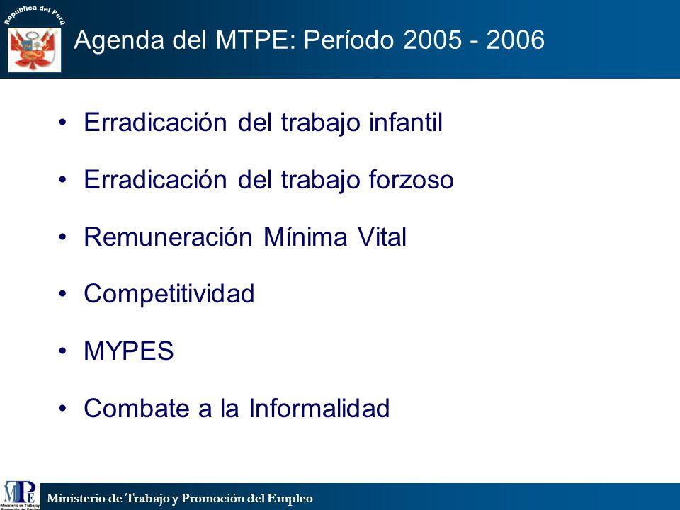 Agenda del MTPE: Período 2005 - 2006