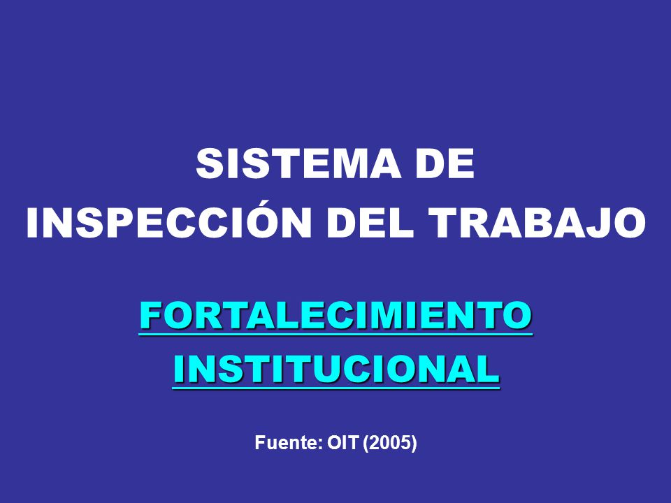 SISTEMA DE INSPECCIÓN DEL TRABAJO FORTALECIMIENTO INSTITUCIONAL Fuente: OIT (2005)