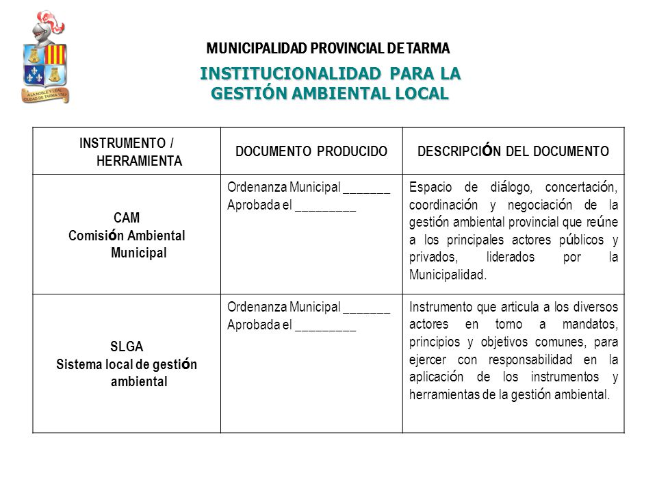 INSTITUCIONALIDAD PARA LA GESTIÓN AMBIENTAL LOCAL