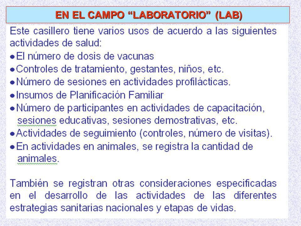 EN EL CAMPO LABORATORIO (LAB)