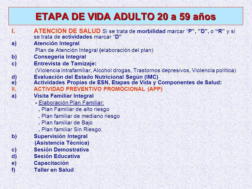 ETAPA DE VIDA ADULTO 20 a 59 años