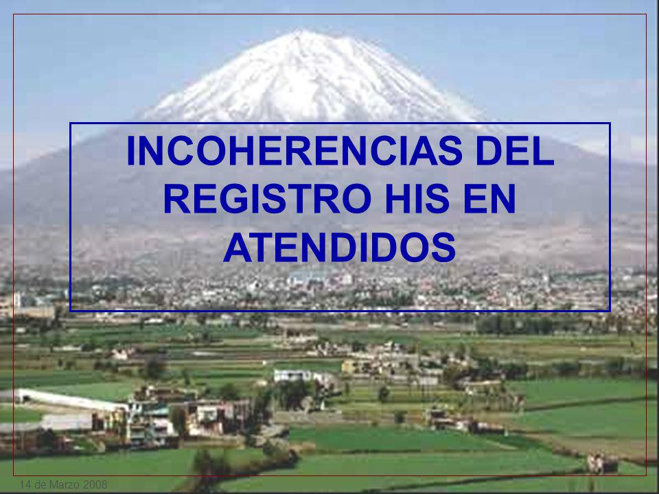 INCOHERENCIAS DEL REGISTRO HIS EN ATENDIDOS