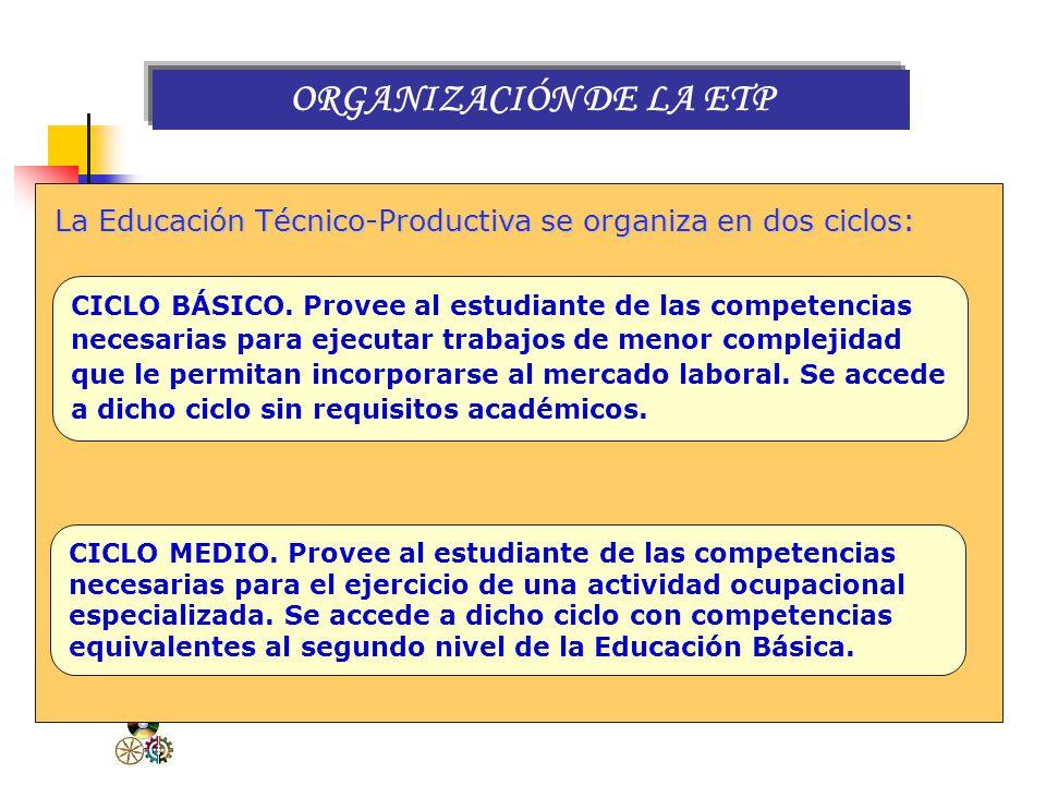 ORGANIZACIÓN DE LA ETP La Educación Técnico-Productiva se organiza en dos ciclos: CICLO BÁSICO. Provee al estudiante de las competencias.
