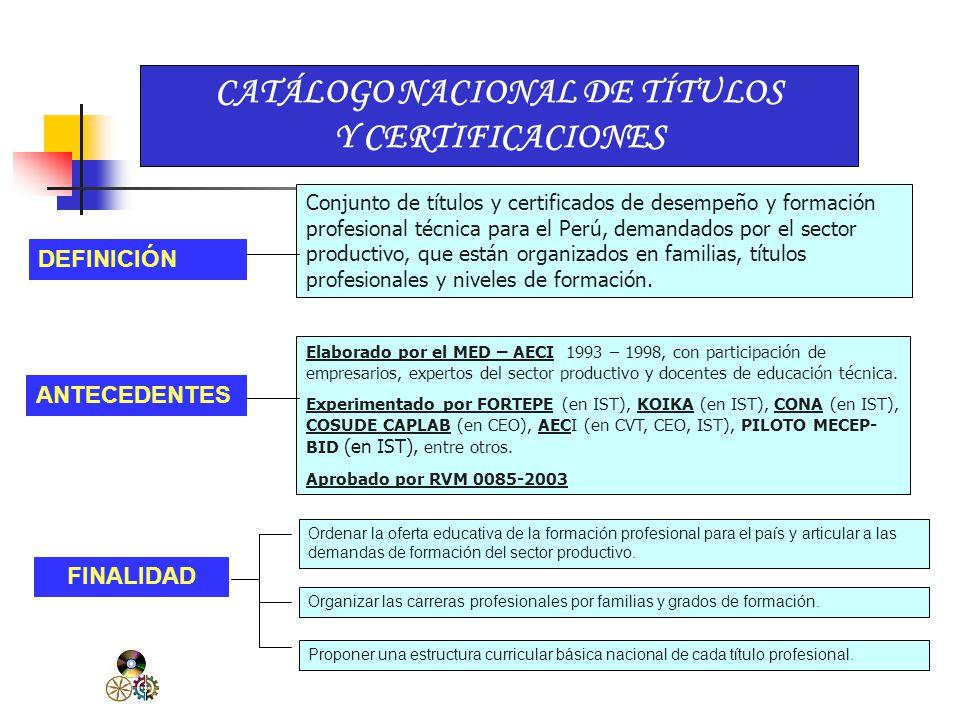 CATÁLOGO NACIONAL DE TÍTULOS Y CERTIFICACIONES