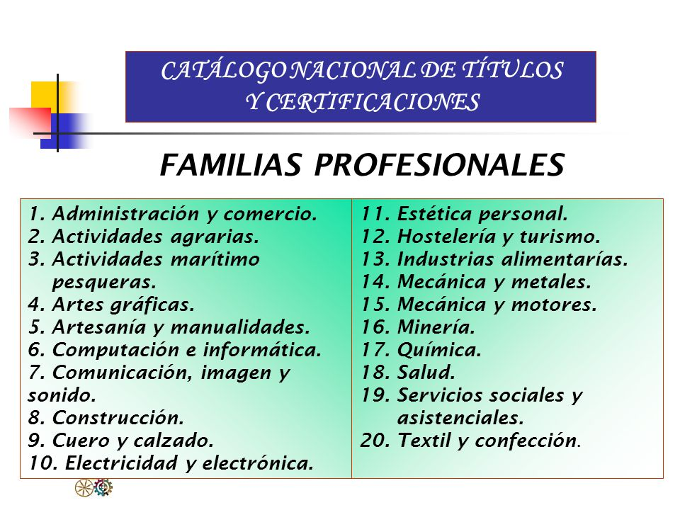 CATÁLOGO NACIONAL DE TÍTULOS Y CERTIFICACIONES FAMILIAS PROFESIONALES