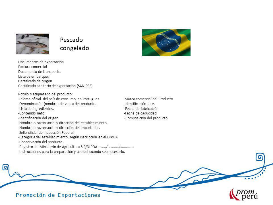 Pescado congelado Documentos de exportación Factura comercial