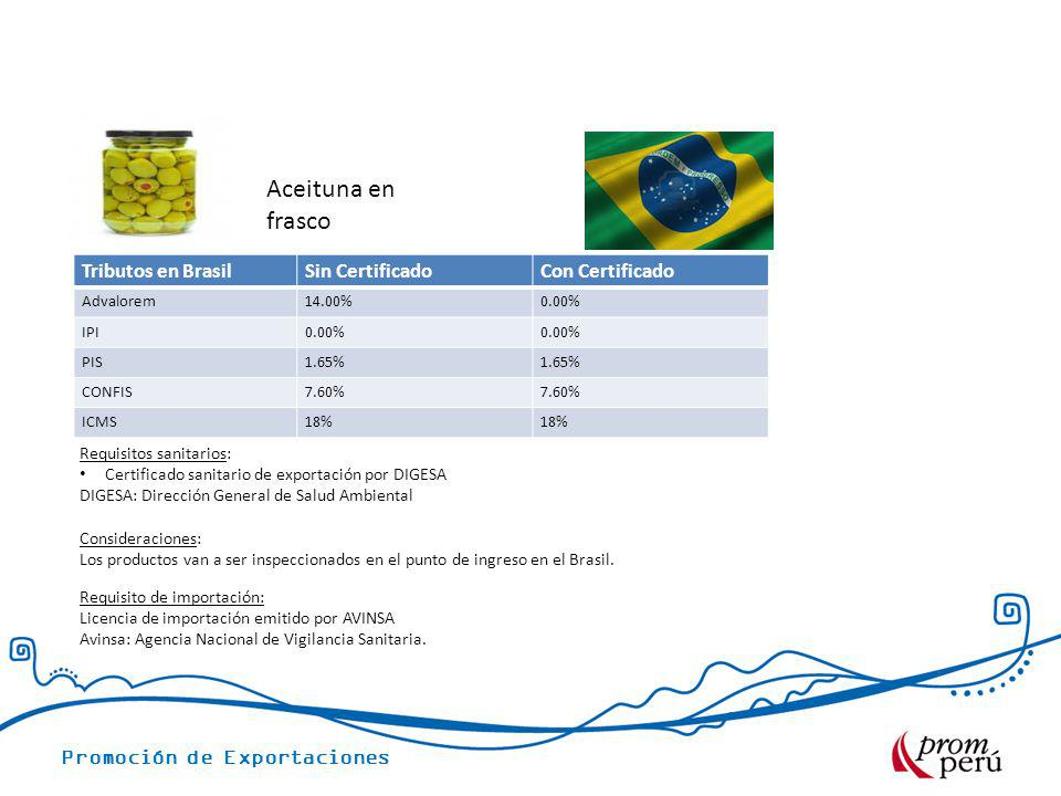 Aceituna en frasco Tributos en Brasil Sin Certificado Con Certificado