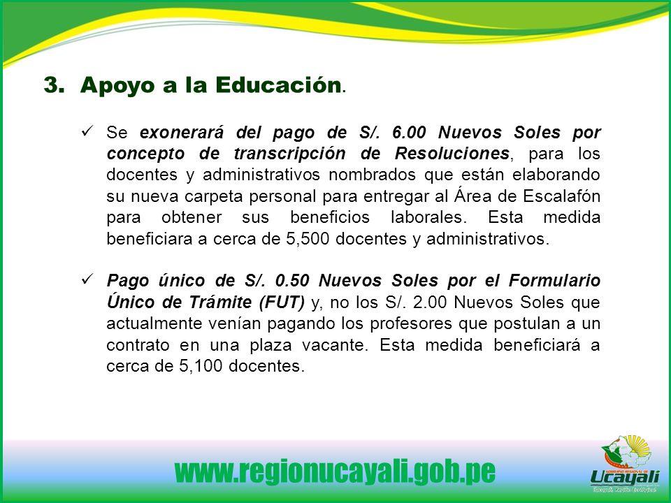 3. Apoyo a la Educación.