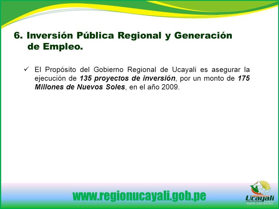 6. Inversión Pública Regional y Generación de Empleo.