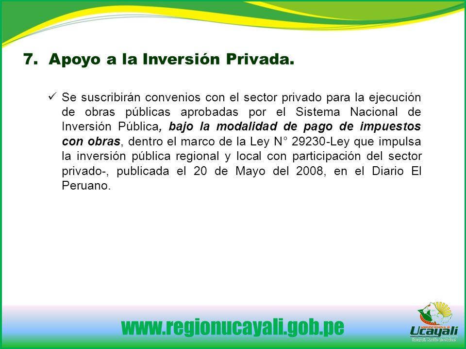 www.regionucayali.gob.pe 7. Apoyo a la Inversión Privada.