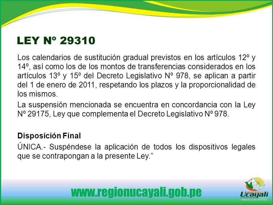 www.regionucayali.gob.pe LEY Nº 29310