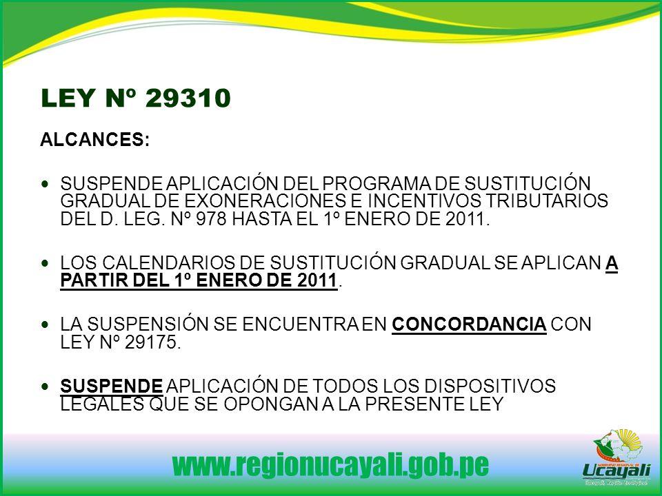 www.regionucayali.gob.pe LEY Nº 29310 ALCANCES: