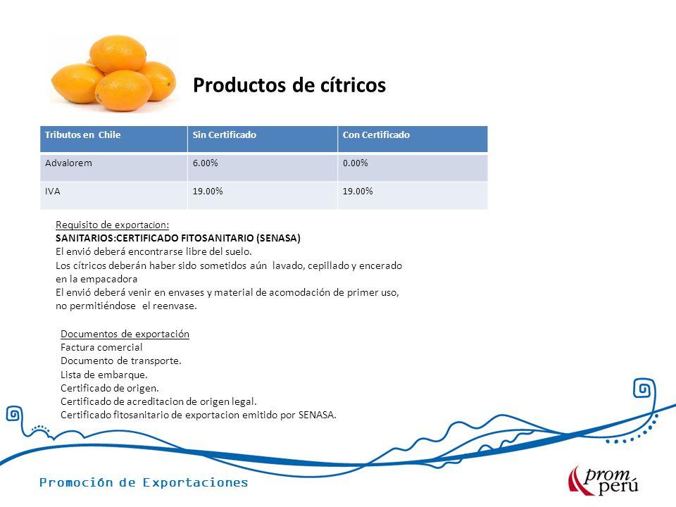Productos de cítricos Requisito de exportacion: