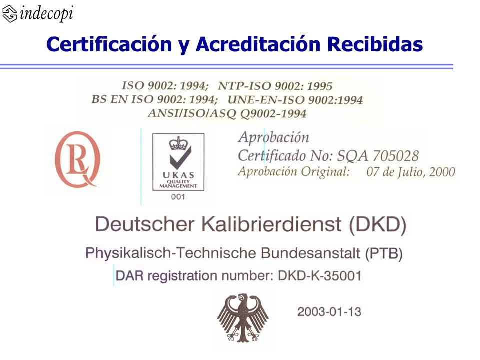 Certificación y Acreditación Recibidas