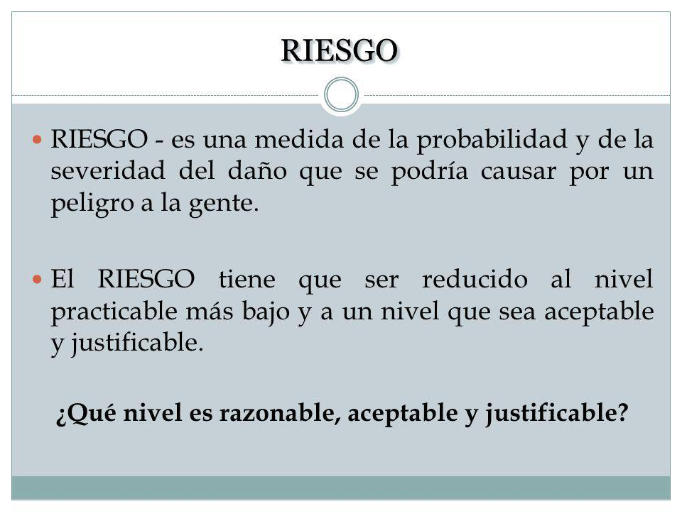 ¿Qué nivel es razonable, aceptable y justificable