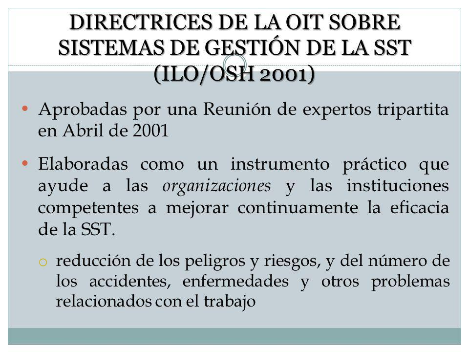 DIRECTRICES DE LA OIT SOBRE SISTEMAS DE GESTIÓN DE LA SST (ILO/OSH 2001)