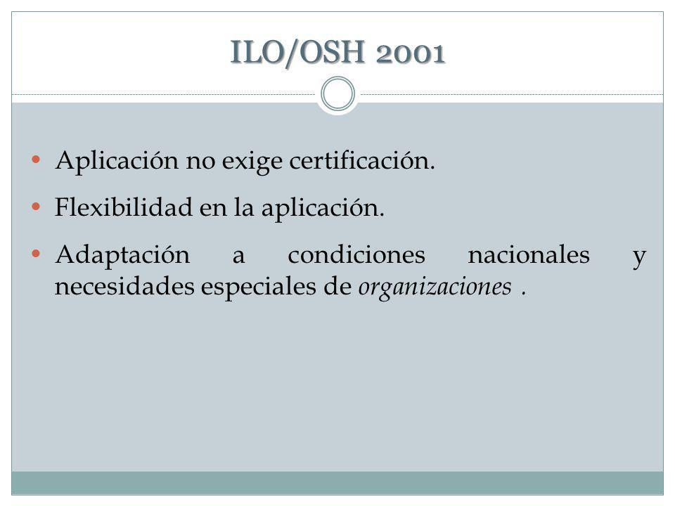 ILO/OSH 2001 Aplicación no exige certificación.