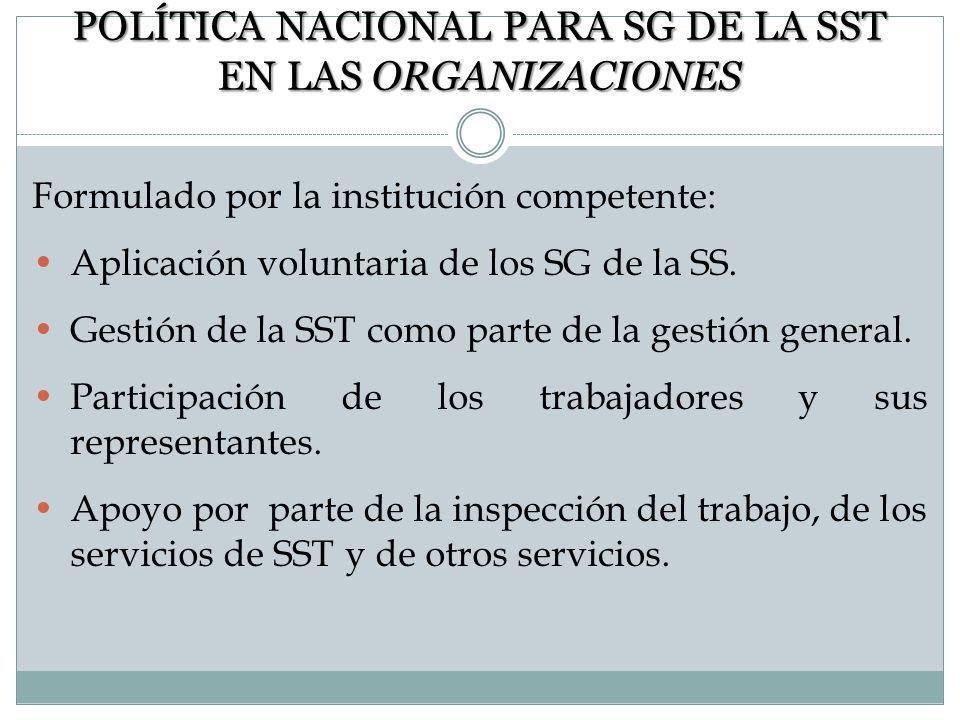 POLÍTICA NACIONAL PARA SG DE LA SST EN LAS ORGANIZACIONES