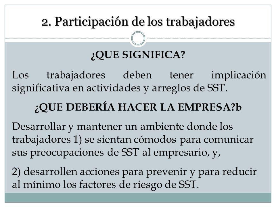 2. Participación de los trabajadores