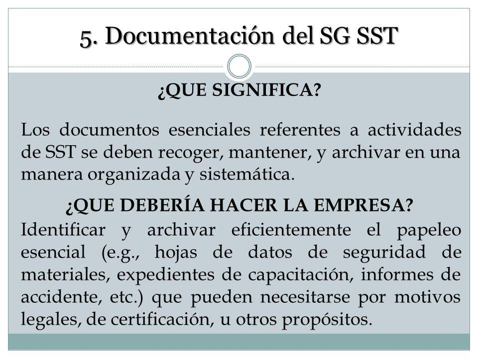 5. Documentación del SG SST